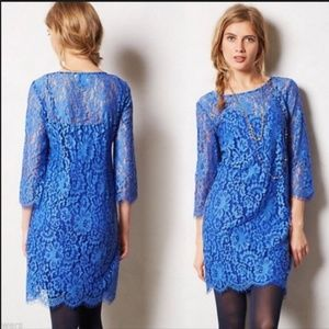 Anthropologie HD In Paris Overture Blue Lace Shift